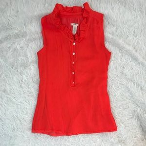 J.Crew 100% Silk Sleeveless Tank Ruffle Blouse 0